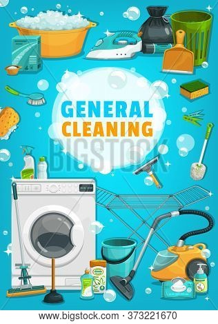 Washing, Household And Cleaning Tools, Appliances Vector Banner. Detergents For Cleaning, Trash Bag