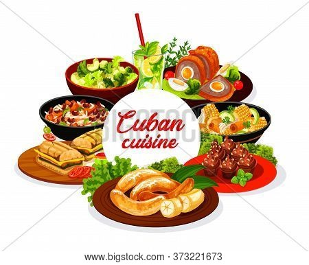 Cuban Cuisine Round Vector Banner. Cuban Restaurant Meals With Meat, Vegetables And Herbs. Sandwich,