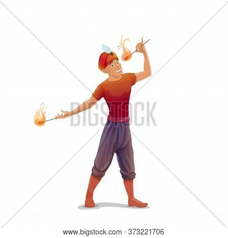 Big Top Circus Fire Eater Or Fakir Vector Character. Smiling Man In Turban With Feather, Performing
