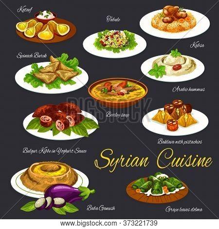 Syrian Cuisine Food And Desserts Vector Menu Set. Qatayef, Tabbouleh Salad And Barley Soup, Hummus A