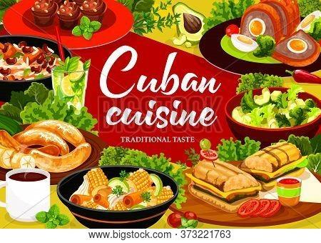 Cuban Cuisine Vector Poster. Restaurant Meals Menu. Cuban Sandwich, Arroz Congri Ragout, Ajiaco Stew