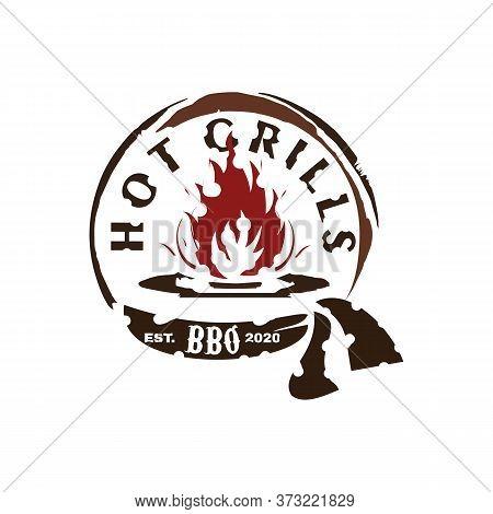 Vintage Retro Rustic Bbq Grill, Barbecue, Barbeque Label Stamp Logo Design Vector