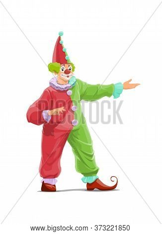 Big Top Circus Clown Cartoon Vector Character. Smiling Clown With False Nose And Makeup, Wearing Red