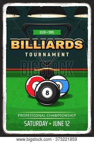 Billiard Pool Tournament Retro Vector Poster. Balls For English And American Billiard In Front Of Po