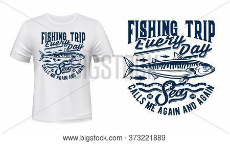 Fishing Sport, Atlantic Ocean Mackerel Shoal Fish And Blue Waves Engraved Illustration And Lettering