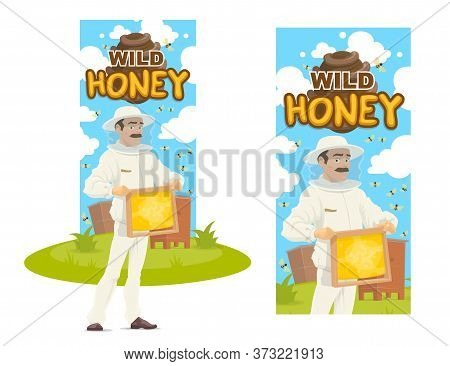 Beekeeper With Honeycomb On Apiary. Vector Banner Honey Production, Beekeeping Hobby. Man In Protect