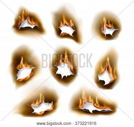 Burnt Paper Holes, Realistic Burn Fire With Charred Edges Isolated Vector Objects. 3d Flame On White