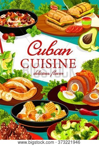 Cuban Cuisine Vector Poster. Cuban Restaurant Meat Meals And Veggie Snacks Banner. Sandwich With Por
