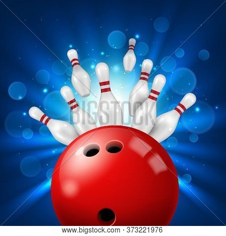 Strike In Bowling Alley 3d Realistic Vector. Pins Flying Aside After Powerful Kick Of Red Ball. Bowl