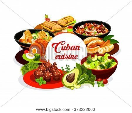 Cuban Cuisine Round Banner. Cuban Food Restaurant Meals With Fruits, Vegetables And Herbs. Vector Fr