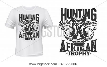Warthog Boar Mascot T-shirt Print Vector Mockup. African Wild Boar Head, Warthog With Big Tusks. Afr