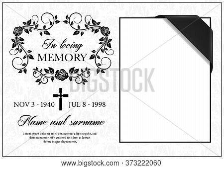 Funeral Card Vector Template, Vintage Condolence Flower Ornament With Cross, Place For Photo With Bl