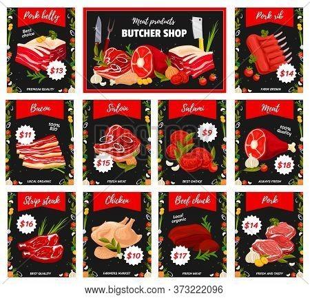 Meat Tenderloin Types, Butchery Shop Production. Vector Pork Belly And Ribs, Bacon, Sirloin And Sala