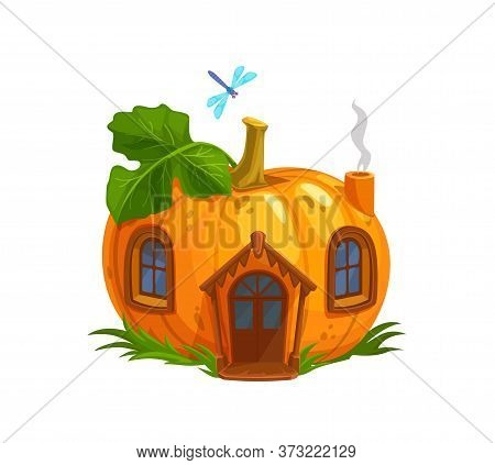 Ripe Pumpkin Gnome Or Elf House. Isolated Cartoon Orange Pumpkin With Wooden Door, Windows And Steam