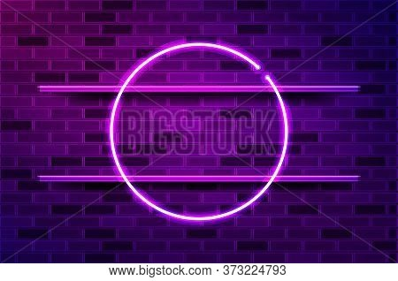 Round Circle Glowing Purple Neon Frame. Realistic Vector Illustration. Purple Brick Wall, Violet Glo