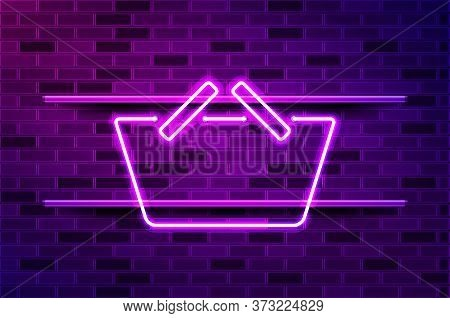 Convenience Store, Shopping Basket Glowing Neon Sign Or Led Strip Light. Realistic Vector Illustrati