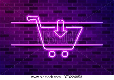 Convenience Store, Shopping Cart Glowing Neon Sign Or Led Strip Light. Realistic Vector Illustration