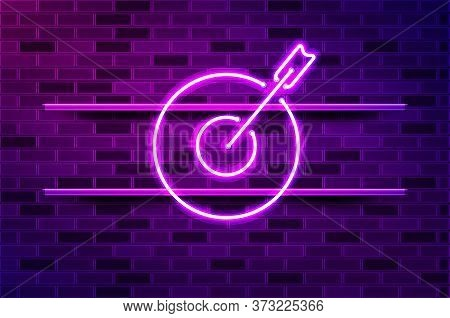Arrow In Target Glowing Neon Sign Or Led Strip Light. Realistic Vector Illustration. Purple Brick Wa