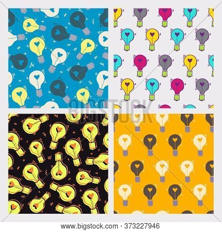 Collection Of Four Light Bulb Seamless Pattern. Hand Drawn Doodle Background With Bulbs. Creative In