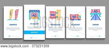 Outdoor Media Advertising Promo Onboarding Mobile App Page Screen Vector. Advertising Billboard And