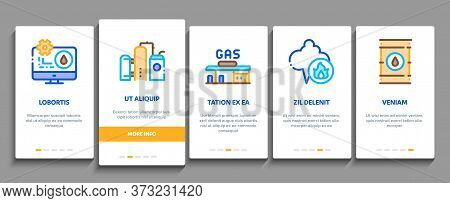 Gas Fuel Industry Onboarding Mobile App Page Screen Vector. Gas Truck Cargo Delivery And Carriage Tr