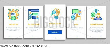 Digital Economy And E-business Onboarding Mobile App Page Screen Vector. Digital Economy And E-comme