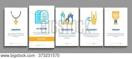 Church Christianity Onboarding Mobile App Page Screen Vector. Church Building And Interior, Christia