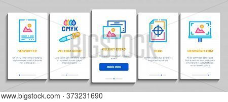 Polygraphy Printing Service Onboarding Mobile App Page Screen Vector. Polygraphy And Scanner Equipme