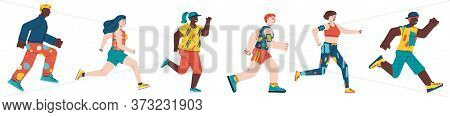Cartoon People Jogging - Running Men And Women Set In Exercise Gear Isolated On White Background. Yo