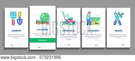 Gardener Worker Instrument Onboarding Mobile App Page Screen Vector. Gardener Shovel And Rake, Lawn