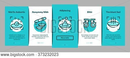 Contact Lens Accessory Onboarding Mobile App Page Screen Vector. Contact Lens On Finger, Eyedropper