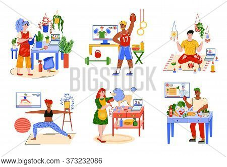 People At Home And Hobby Activities - Isolated Set Of Men And Women In Quarantine Cooking, Doing Spo
