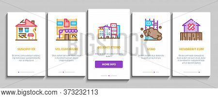 Broken House Building Onboarding Mobile App Page Screen Vector. Crashed And Abandoned Building, Demo