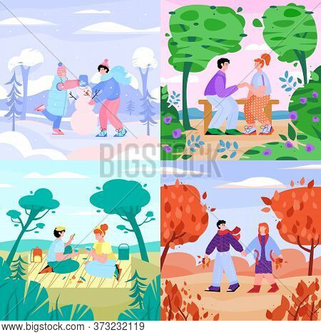 Set Of Cards Or Banner With Couple In Love Enjoying Outdoor Activity In Four Year Seasons, Cartoon V