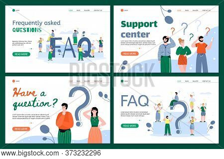 Confused People Ask Questions And Contact The Support Center. Illustration Of The Question And Answe