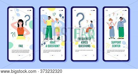 Onboarding Mobile Set For Faq And Customers Support Pages With Confused People Characters Among Ques