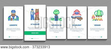 Forestry Lumberjack Onboarding Mobile App Page Screen Vector. Forestry Working Equipment And Tree Sa