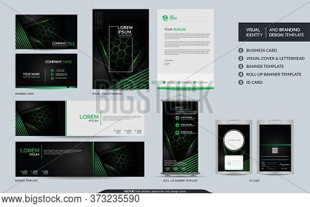 Modern Black Green Stationery Mock Up Set And Visual Brand Identity With Abstract Overlap Layers Bac