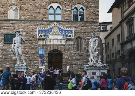 Florence, Italy - October 2019: Statues Of David And Hercules And Cacus At Entrance Of Palazzo Vecch