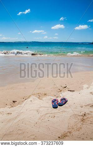 Australia Day And Travel Destination Background: Patriotic Aussie Thongs Featuring Australian Flag O