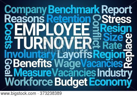 Employee Turnover Word Cloud on Blue Background