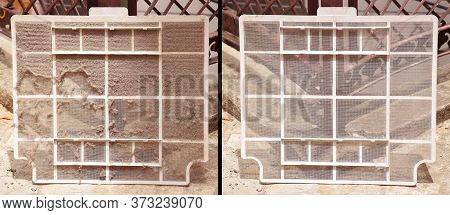 Before And After Picture Shows Dust On Ac Filter And A Clean Filter After Washing It. Air Conditione