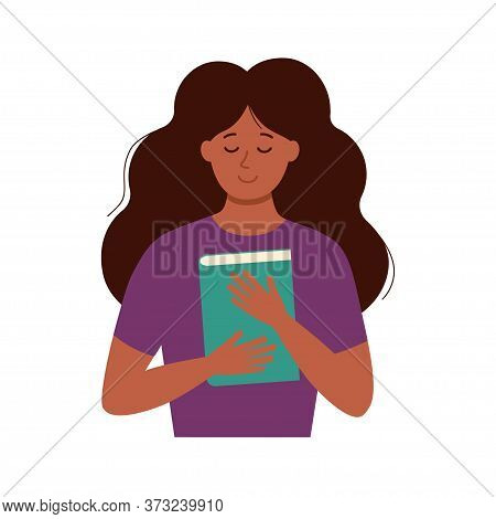 Young Joyful African-american Student Hugging A Book. Peaceful Smiling Student Holding A Book. Conce