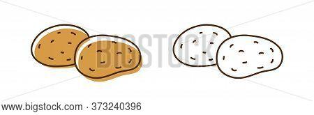 Set Of Colorful And Outline Monochrome Potato Vector Illustration. Whole Organic Natural Potatoes Se