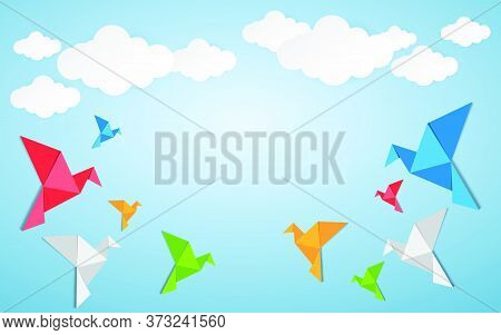 76-origami Made Colorful Bird With Origami Clouds. Paper Art And Craft Style