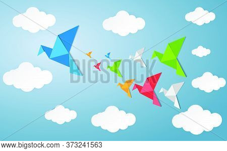 77-origami Made Colorful Bird With Origami Clouds. Paper Art And Craft Style