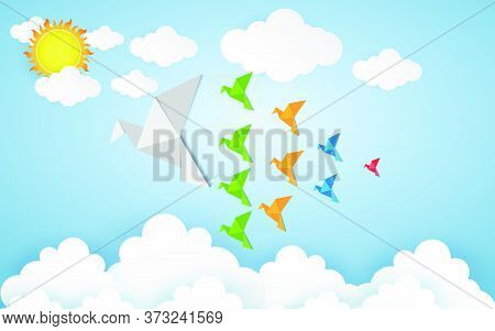 78-origami Made Colorful Bird With Origami Clouds. Paper Art And Craft Style