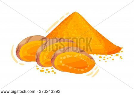 Sliced Turmeric Rhizome With Pile Of Milled Root Vector Illustration