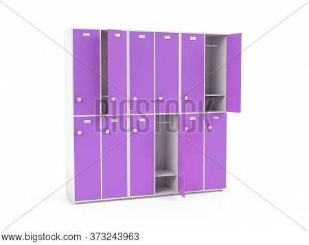 Purple Lockers. Two Row Section Of Lockers For Schoool Or Gym. 3d Rendering Illustration Isolated On
