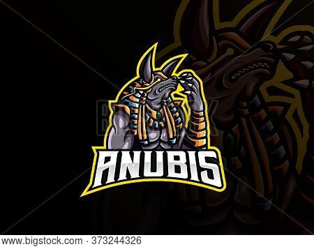 Anubis Mascot Sport Logo Design. Ancient Egypt Mascot Vector Illustration Logo. Mythology Anubis Mas